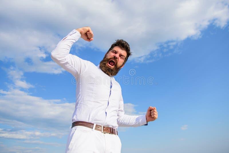 Man emotional enjoy freedom sky background. Feel free. Guy emotional shout face proud of himself. Full of energy. Man royalty free stock photos