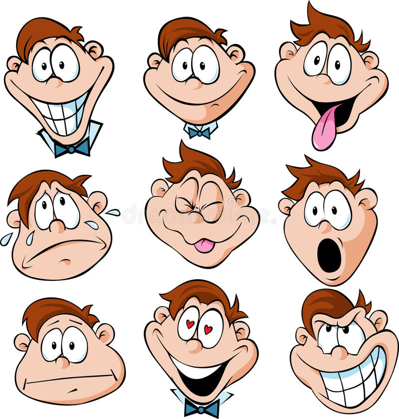 Download Man Emotions - Illustration Of Man With Many Facia Royalty Free Stock Images - Image: 31993489