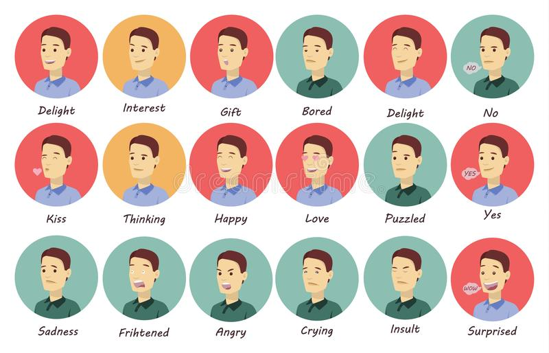Man emotions set. stock illustration