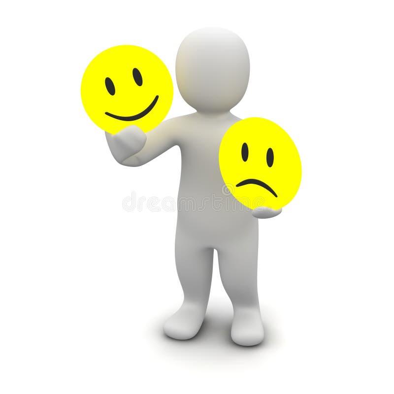 Man with emotions symbols royalty free illustration