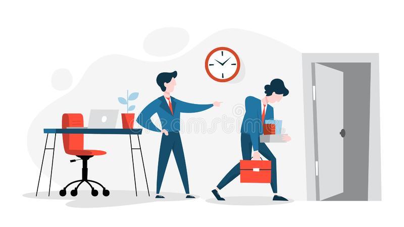 Man employee in the suit fired from the job. Sad guy with a box walking to the door. Boss pointing to the exit. Isolated vector cartoon illustration stock illustration