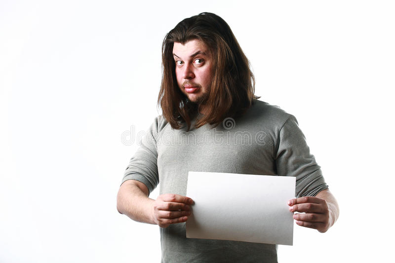 Download Man with empty paper sheet stock image. Image of blank - 23732095