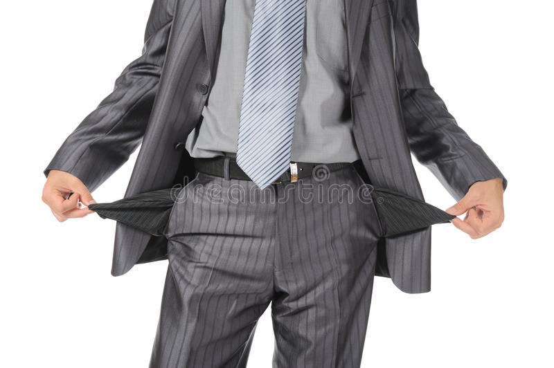 Man with empty pockets. Isolated on white background royalty free stock photo