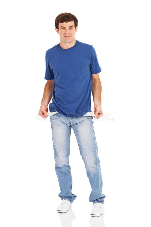 Man empty pockets stock image