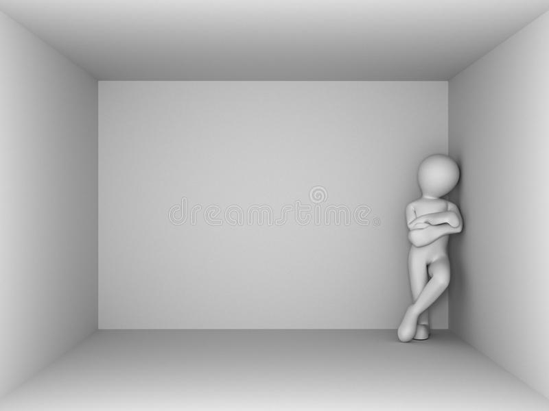 Man in an empty room. 3d royalty free illustration