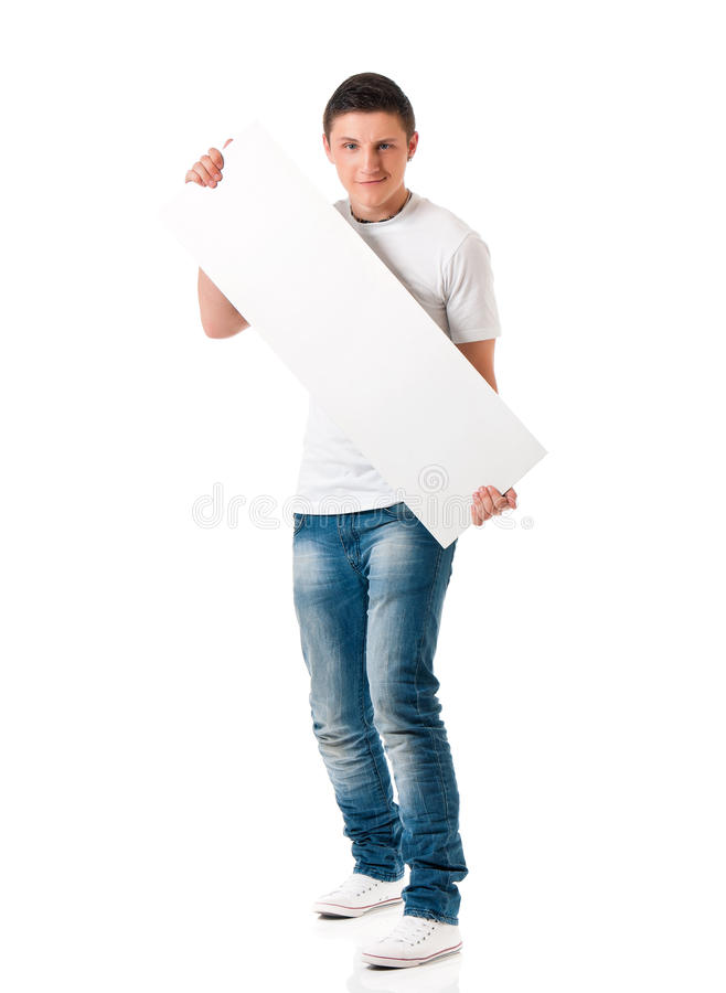 Man with empty white board royalty free stock photo