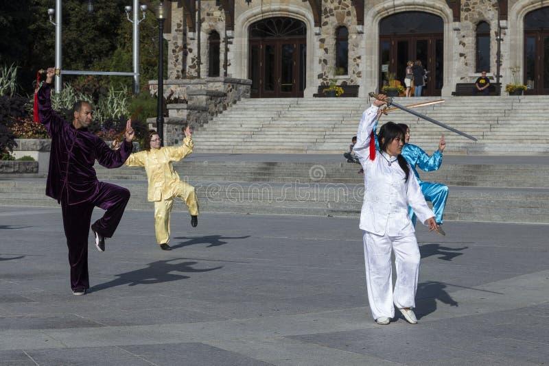 Man en drie vrouwen in Aziatische uitrustingen die aan een Tai Chi-demonstratie deelnemen stock afbeelding