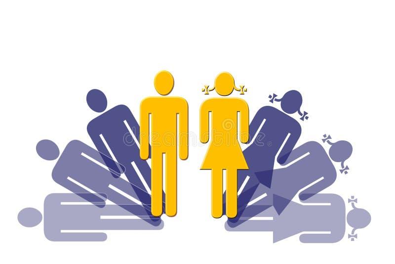 Man en Vrouw stock illustratie
