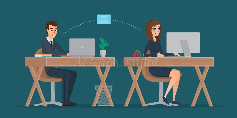 Man en vrouw bij computermonitor Bureaucorrespondentie royalty-vrije illustratie