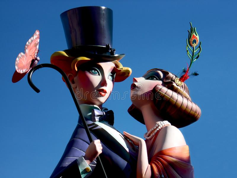 Man en vrouw in cabaretkleding Fallas van Valencia Paar in liefde royalty-vrije stock fotografie