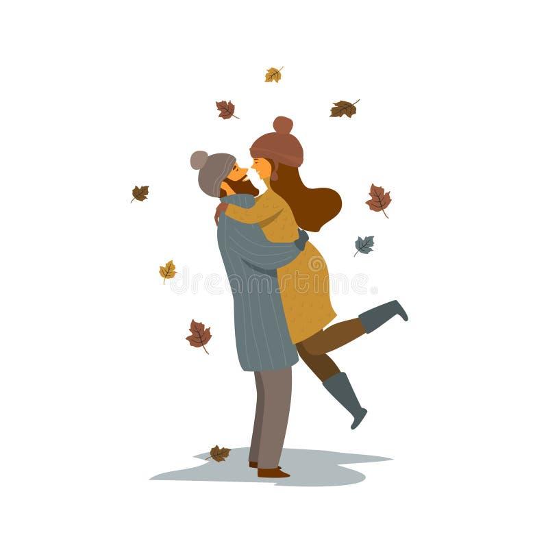 Man en vrouw die, gelukkig paar in liefde op een datum in de tijd vectorillustratie van de de herfstdaling koesteren stock illustratie