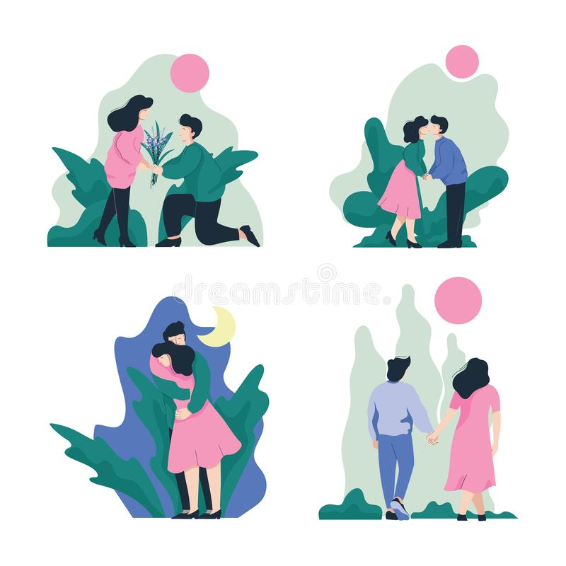 Man en Vrouw die, en op Aardreeks omhelzen kussen, Romantisch Paar, Gelukkige Minnaars op Datum Vectorillustratie lopen royalty-vrije illustratie