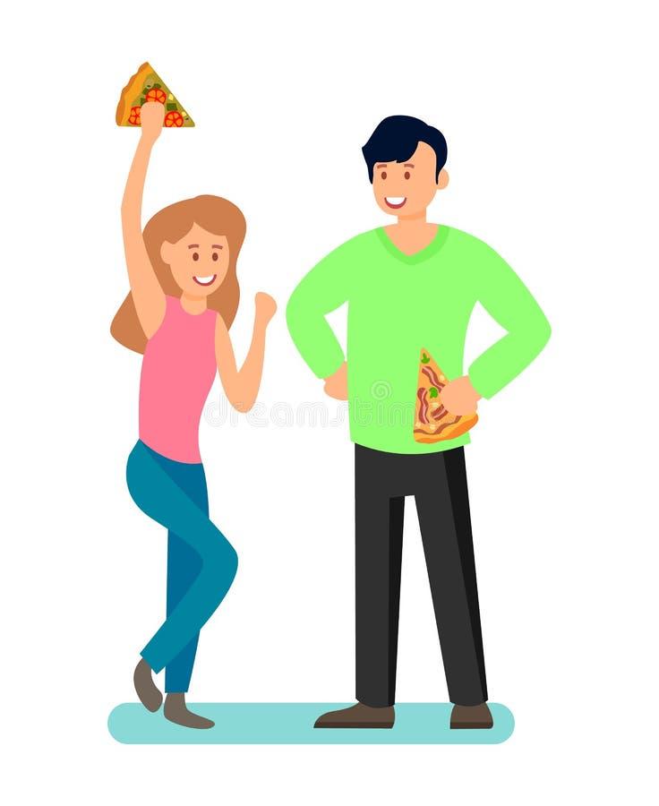 Man en Vrouw die Pizza van Vectorillustratie genieten royalty-vrije illustratie