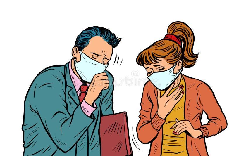 Man en vrouw in maskers, vuile lucht, ziektebesmetting royalty-vrije illustratie