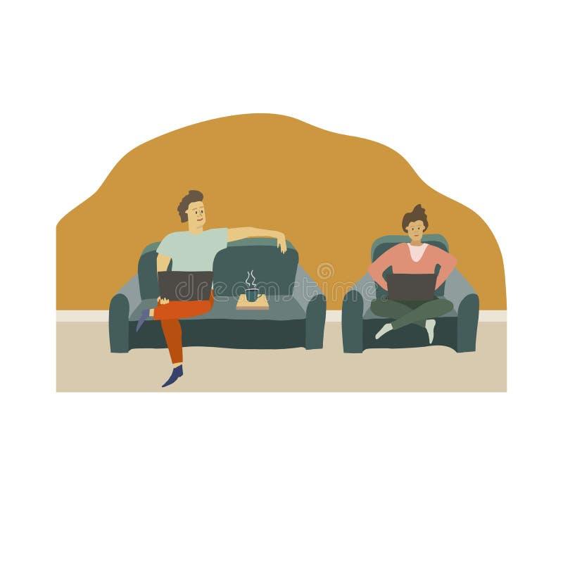 Man en Vrouw met Laptops De mensen werken thuis royalty-vrije illustratie