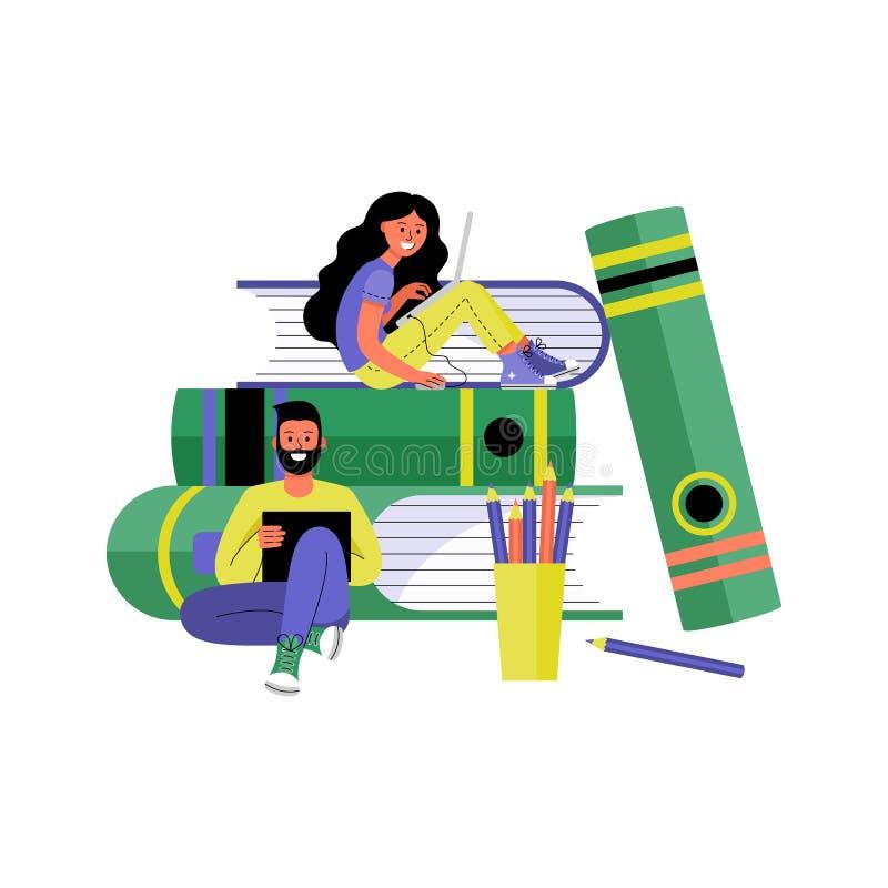 Man en Vrouw met Laptops Onlinetraining en het freelancing concept Vector illustratie royalty-vrije illustratie