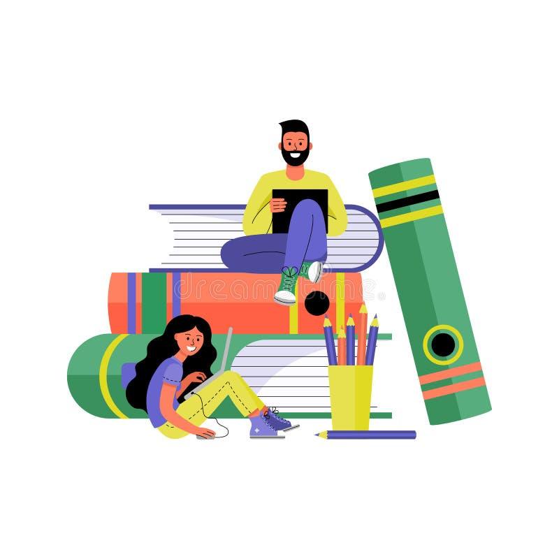 Man en Vrouw met Laptops Onlinetraining en het freelancing concept Vector illustratie stock illustratie