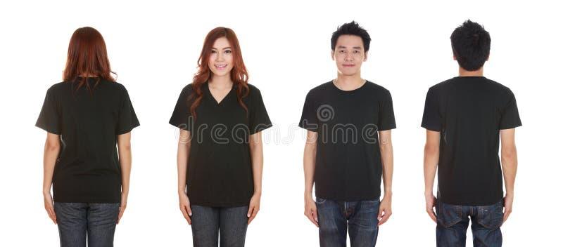 Man en vrouw met lege zwarte t-shirt stock afbeeldingen