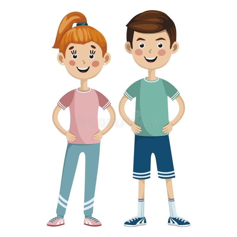 Man en vrouw in sportkleding stock illustratie
