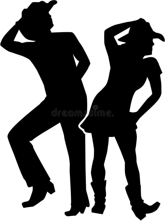 Man en vrouw van het lijn de de dansende silhouet royalty-vrije illustratie