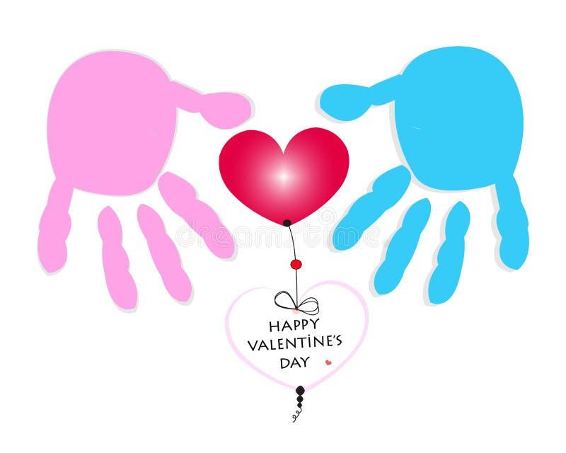 Man en vrouwen de drukken en het hart van de paarhand De gelukkige vector van de de groetkaart van de valentijnskaartdag vector illustratie