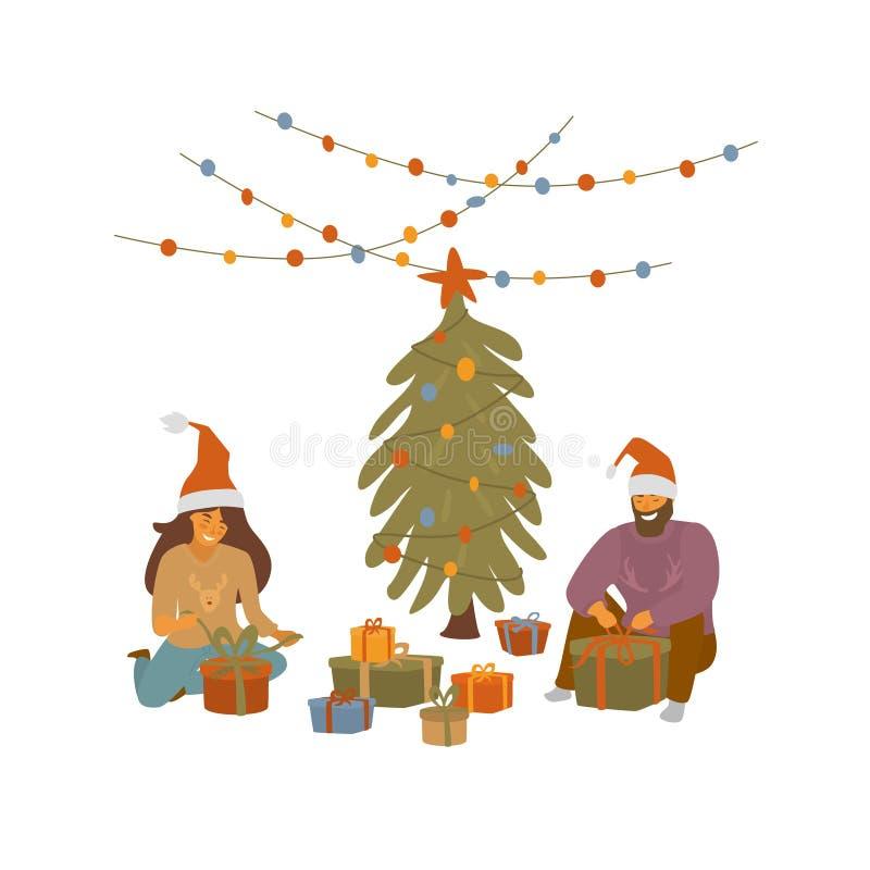 Man en vrouwen de giften van verpakkingskerstmis, die voor het beeldverhaal vectorillustratie van de Kerstmisviering voorbereidin stock illustratie