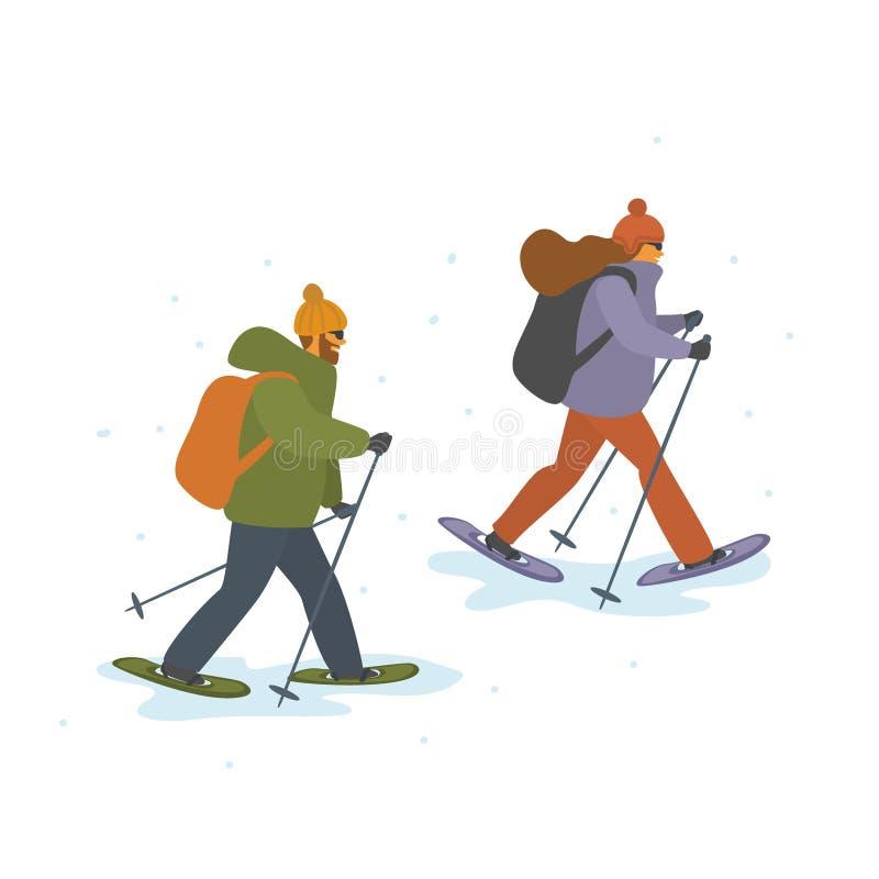 Man en vrouwen de winter die geïsoleerde vectorbeeldverhaalillustratie snowshoeing royalty-vrije illustratie