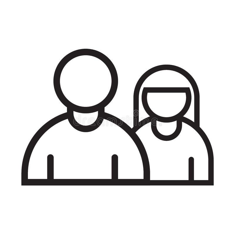 Man en vrouwen de zwarte van het lijnpictogram royalty-vrije illustratie