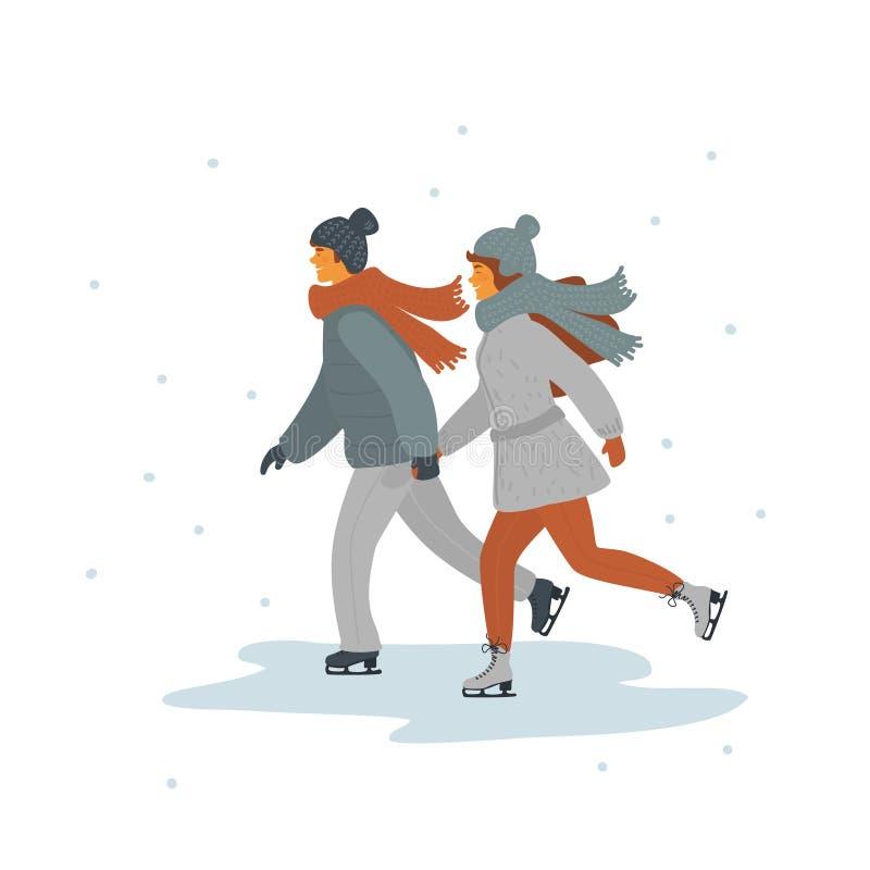Man en vrouwen het ijs die van holdingshanden samen schaatsen stock illustratie