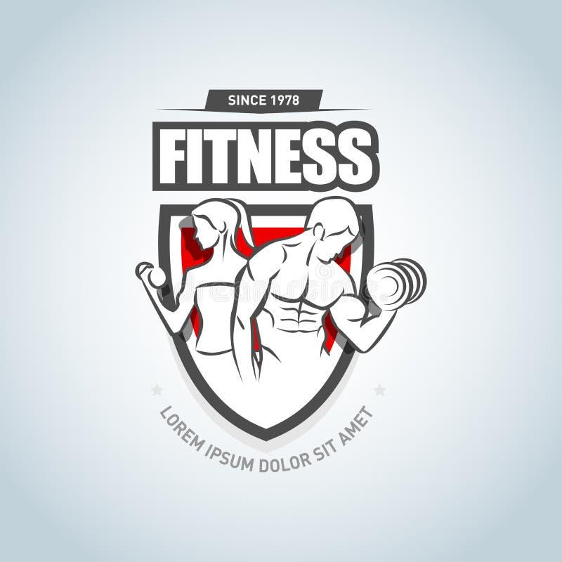Man en vrouwen het malplaatje van het Geschiktheidsembleem Gymnastiekclub logotype Sportfitness club creatief concept Vector form royalty-vrije illustratie