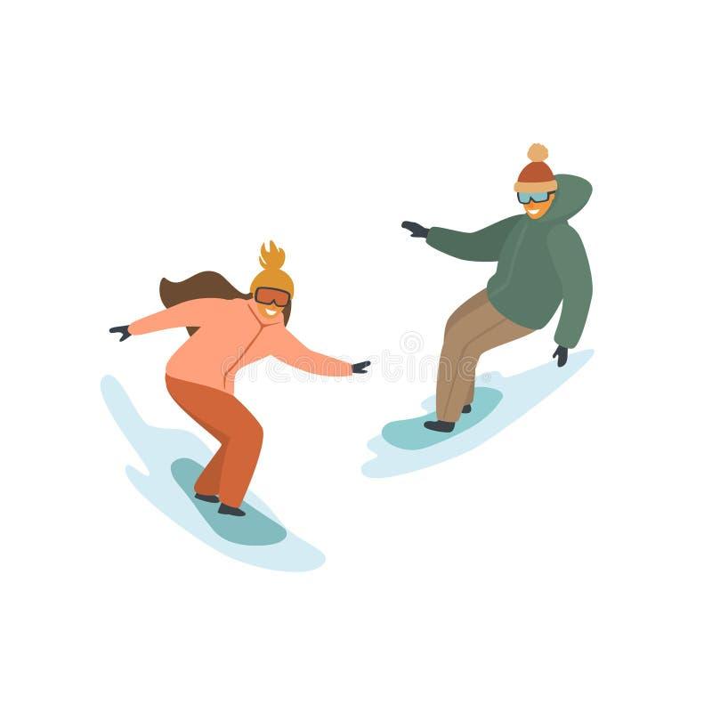 Man en vrouwen het snowboarding, de winter geïsoleerde vectorillustratie royalty-vrije illustratie