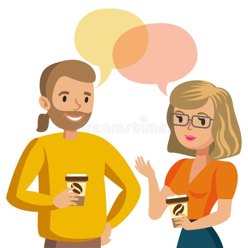 Man en vrouwen het spreken Bespreking van paar of collega's Vector royalty-vrije illustratie