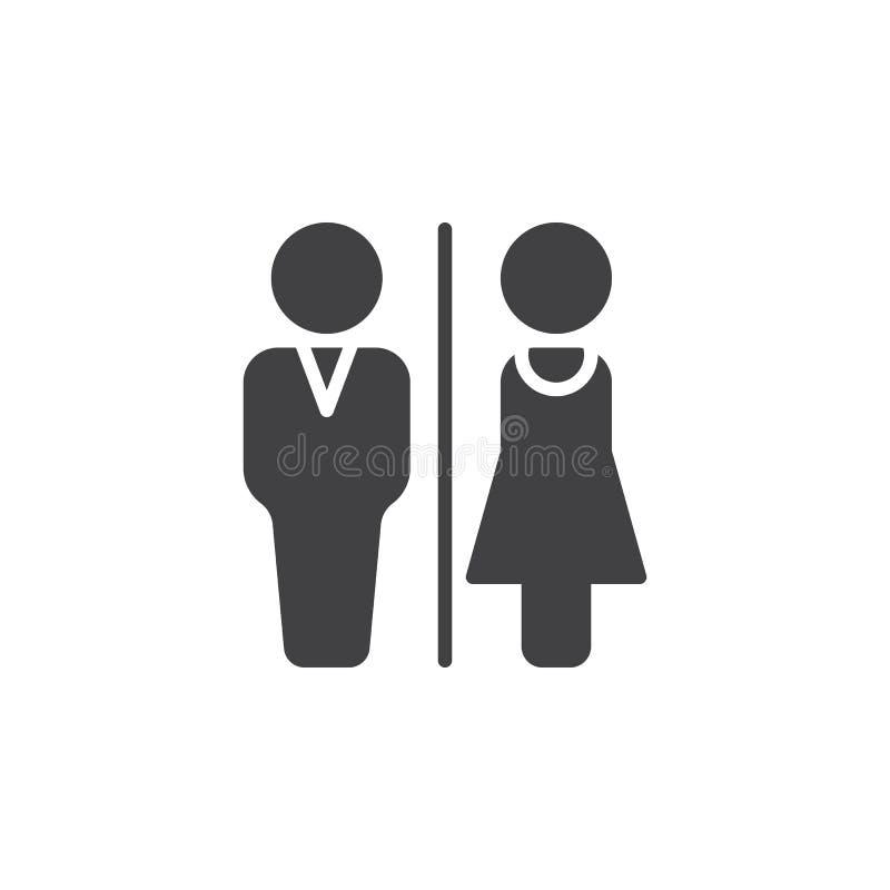 Man en Vrouwen het vector, gevulde vlakke teken van het toiletpictogram, stevig die pictogram op wit wordt geïsoleerd royalty-vrije illustratie