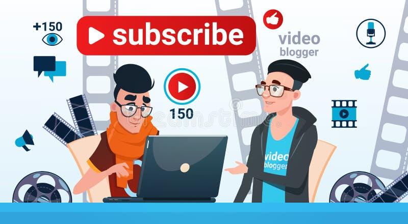 Man en Vrouwen tekent de Video Online Stroom Blogging van Blogger Concept in royalty-vrije illustratie