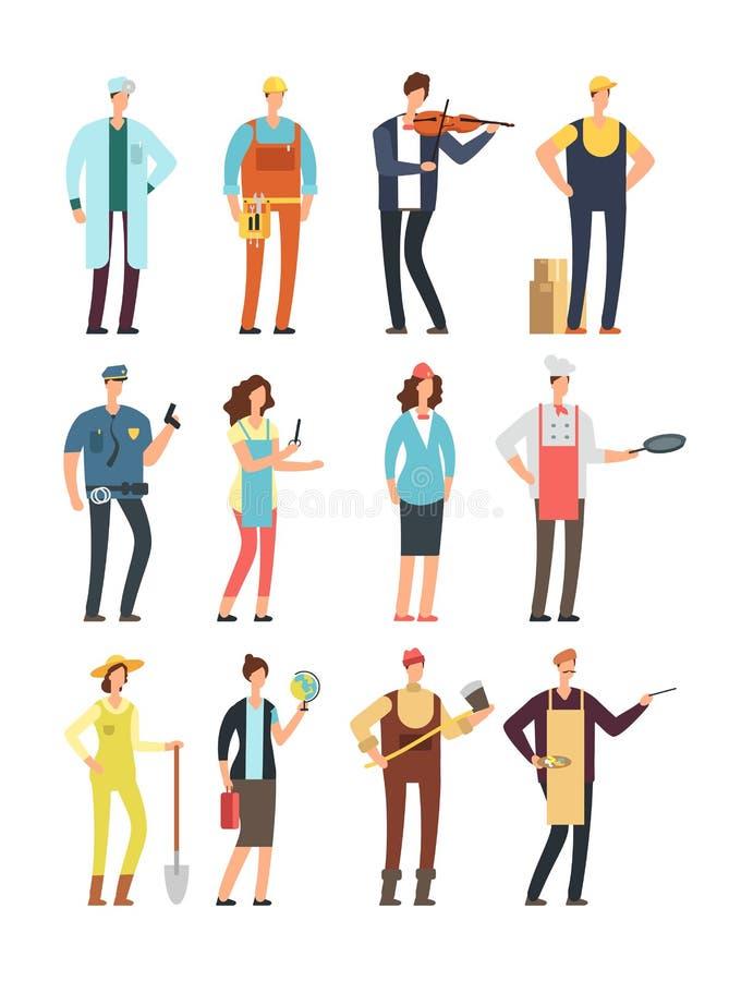 Man en vrouwenarbeiders met hulpmiddelen in eenvormig Beeldverhaal vectorkarakters van verschillende geïsoleerde beroepen vector illustratie