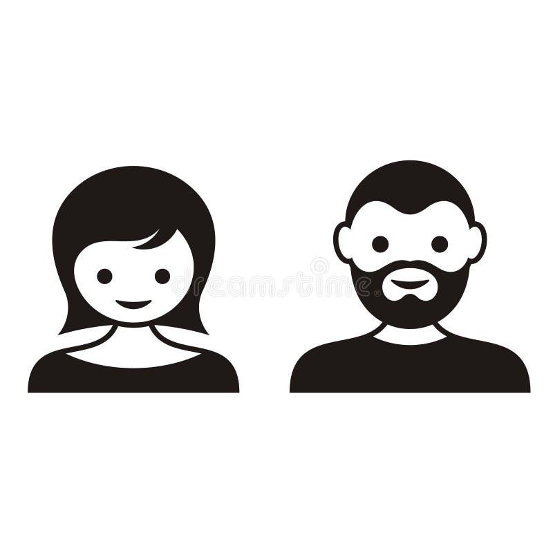 Man en vrouwengezichtspictogrammen vector illustratie