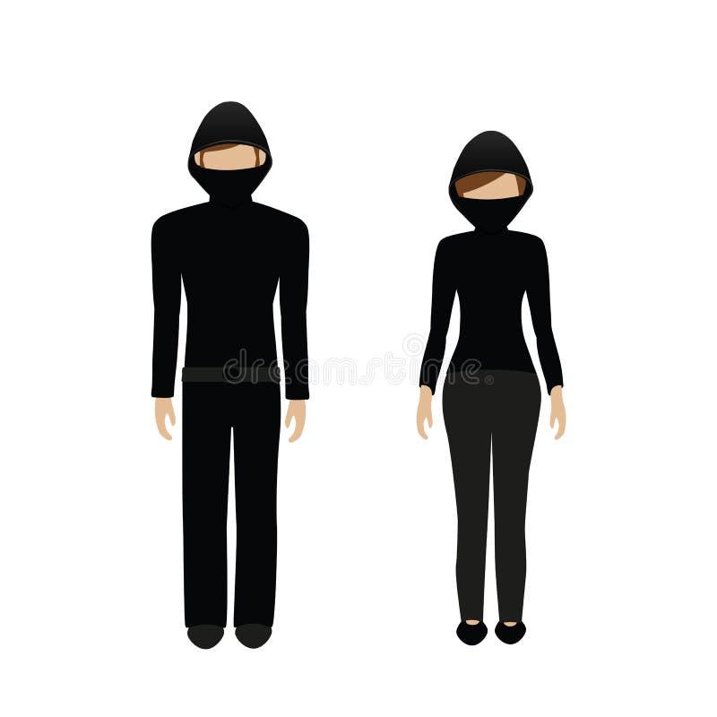 Man en vrouwenkarakter gemaskeerde inbreker vector illustratie