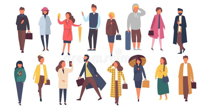 Man en vrouwenkarakters in de herfst outwear kleren Menigte van beeldverhaalmensen buiten op de straten Vlakke vector vector illustratie