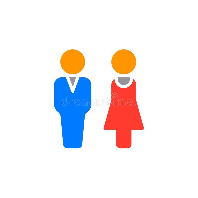 Man en vrouwenpictogram vector, gevuld vlak teken, stevig kleurrijk die pictogram op wit wordt geïsoleerd stock illustratie