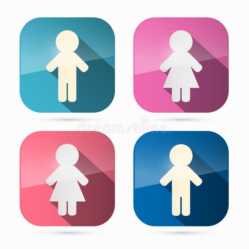 Man en Vrouwenpictogrammen, Geplaatste Symbolen stock illustratie