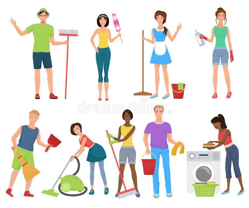Man en vrouwenportiersreinigingsmachines De schoonmakende mensen die was met het schoonmaken werken equipmen reeks De schoonmaken royalty-vrije illustratie