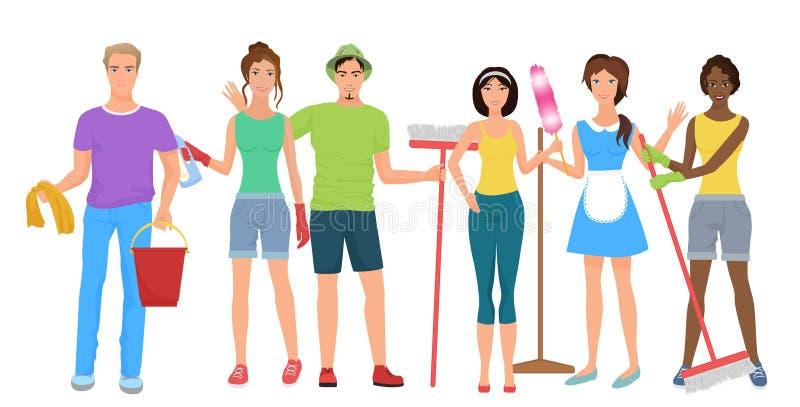 Man en vrouwenportiersreinigingsmachines De schoonmakende mensen groeperen team samen met het schoonmaken equipmen reeks De schoo stock illustratie