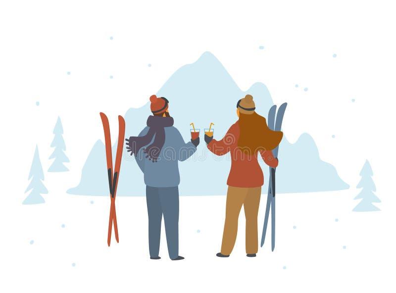 Man en vrouwenskiërs die de winter van vakantie in bergen genieten, apres ski stock illustratie