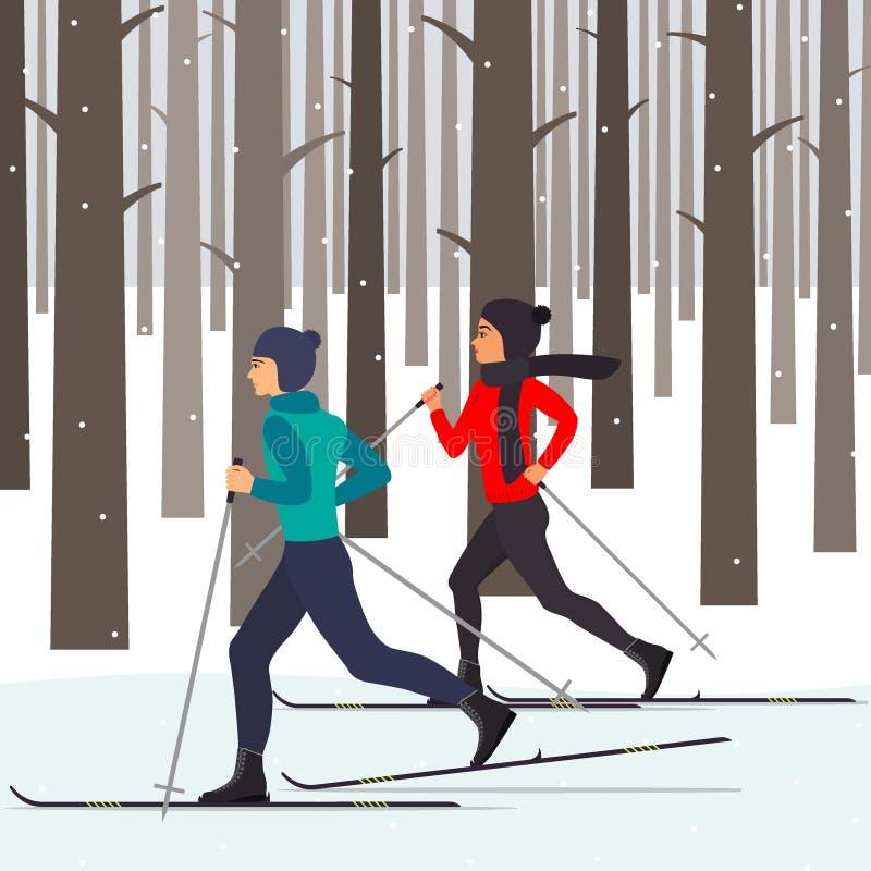 Man en vrouwenskiërs in motie in een sneeuw de winterbos onder de bomen Vectorillustratie in vlakke stijl vector illustratie