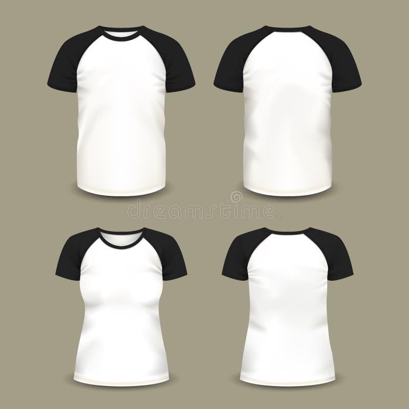 Man en vrouwensportt-shirt vector illustratie
