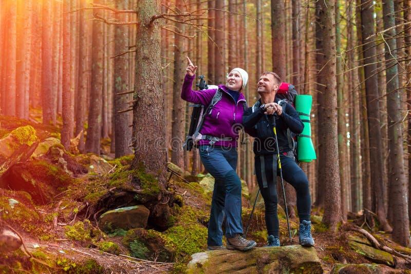 Man en Vrouwenwandelaars die in Dicht Oud Forest Smiling en het Richten blijven stock foto