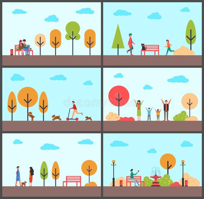 Man en Vrouwenzitting op Bank van Park in de Herfst vector illustratie