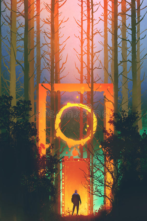 Man in the enchanted forest with fantasy gate stock illustration