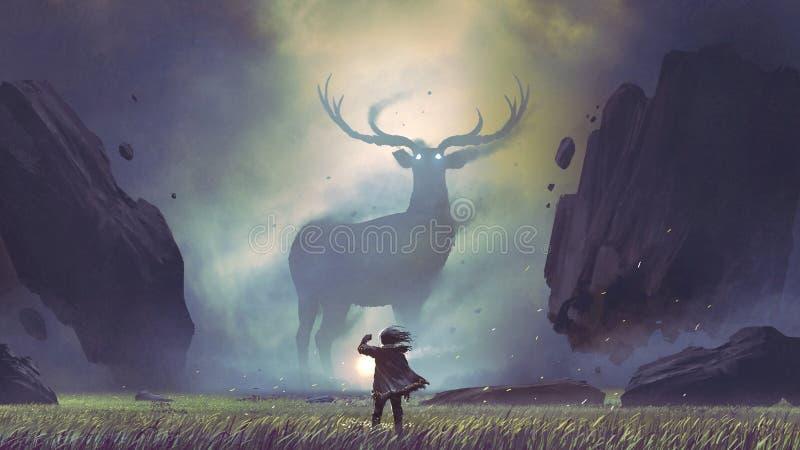 Man encountering the legendary deer stock illustration
