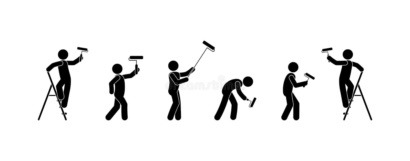 Man is engaged in repair wall painting icons, stick figure people with paint roller stock illustration